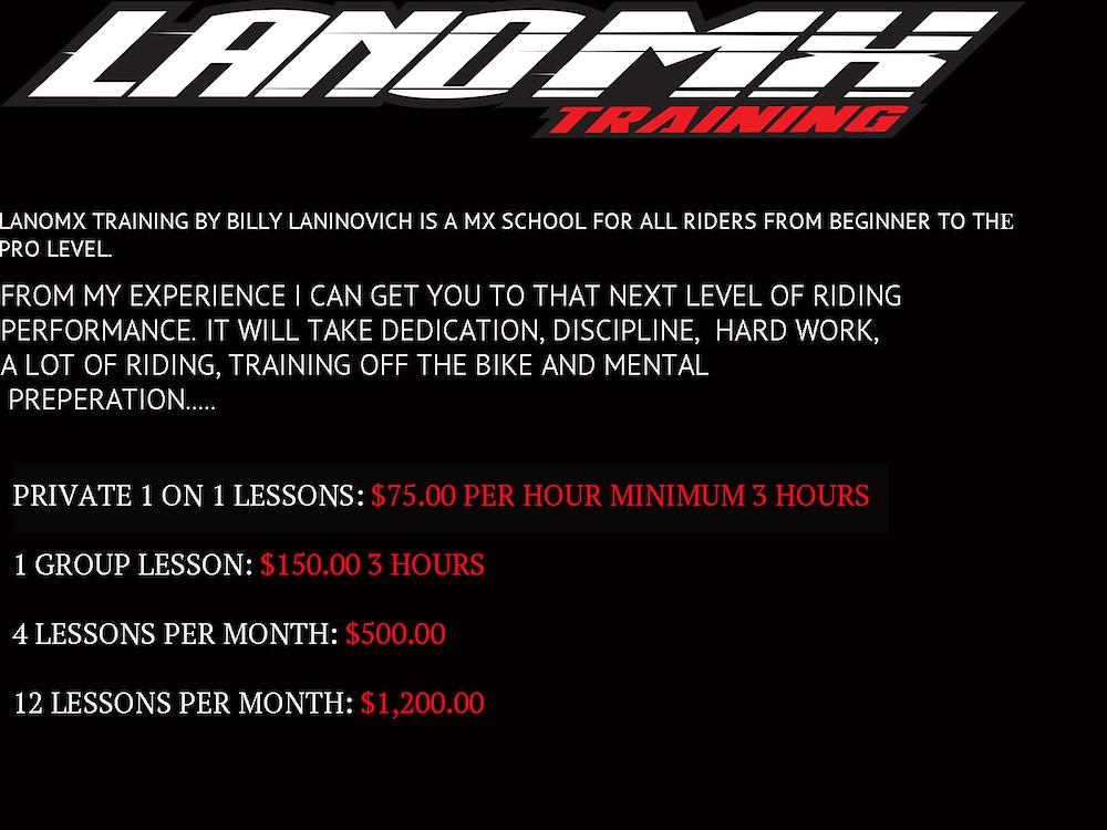 Motocross/Supercross Training - LanoMX.com - Official web site of Billy Laninovich