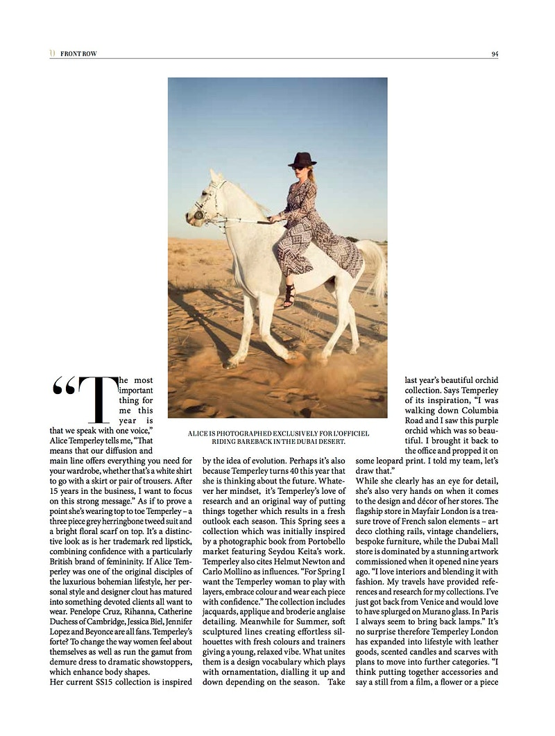 Lofficiel Middle East Alice Temperley - Alex Callueng