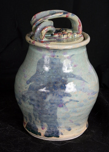 Lidded Jar in Aqua/multi - Alexis Dillon | PHOTOGRAPHER
