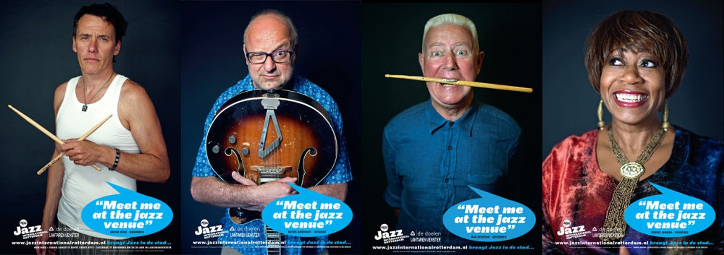 Arend Niks, Anton Goudsmit, Han Bennink, Denise Jannah (voor Jazz International Rotterdam) - Andreas Terlaak Photography