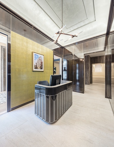 The Chamberlain NYC sales gallery - composed by FXFOWLE and Champalimaud Design - Ariel Camilo Photography