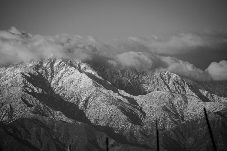 Snow Covered San Gabriel Mountains - around the bend photos photography by Sheldon Ballard