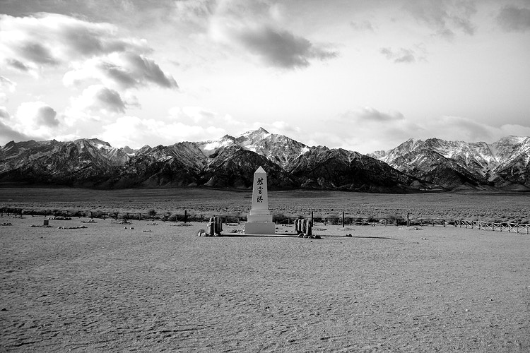 A Black and White of Manzanar Monument - around the bend photos photography by Sheldon Ballard