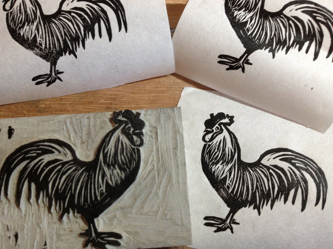 Custom Stamp: A Rooster with Beret - Ayu Tomikawa ART