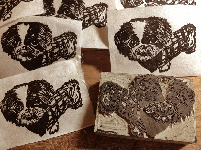 Custom Stamp of a Shih-Tsu Dog - Ayu Tomikawa ART