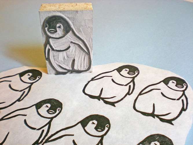 Running Penguin Stamp 2 - Ayu Tomikawa ART