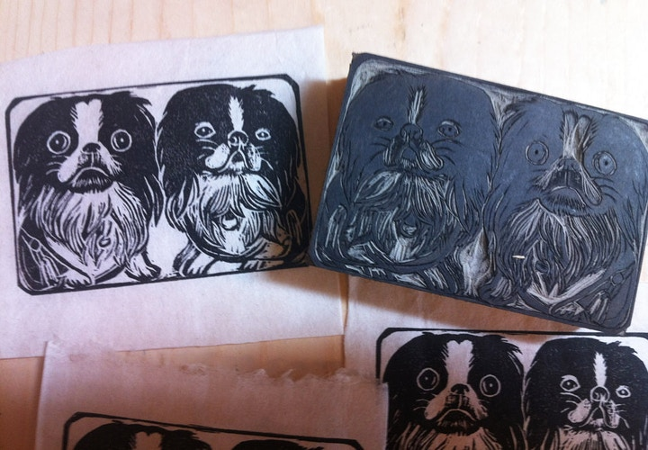 Custom Stamps Two Dogs - Ayu Tomikawa ART