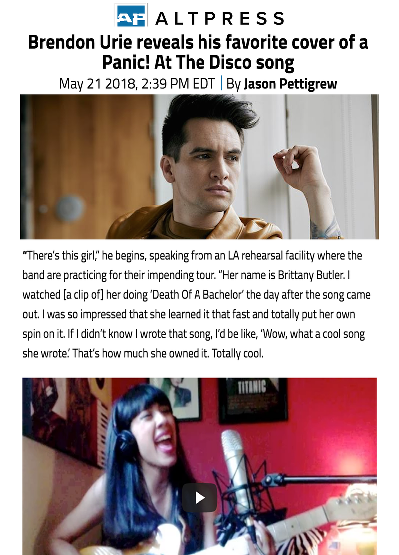 Panic! At The Disco's Brendon Urie mentions Brittany - brittany butler.
