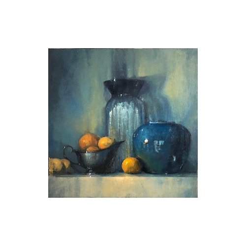 Blue Vase w/Oranges - Christopher Groves