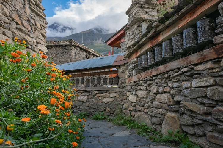 Prayer wheels and colorful flowers at a village along the Annapurna Circuit in Nepal - Daniel John Photography