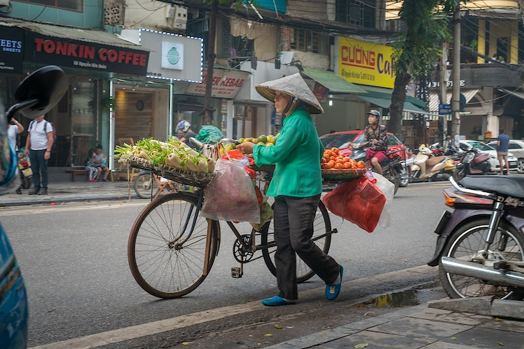 A Vietnamese woman in Hanoi, Vietnam carrying vegetables and fruit for sale on a bicycle - Daniel John Photography