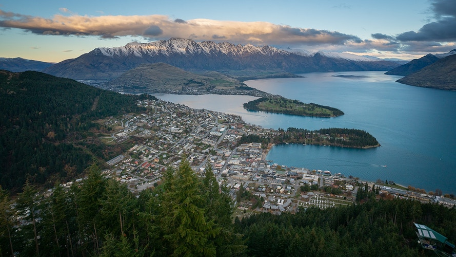 An aerial view of Queenstown in the South Island of New Zealand - Daniel John Photography