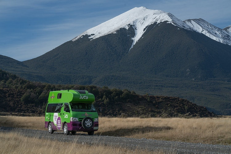 A Jucy campervan rental off road in New Zealand - Daniel John Photography