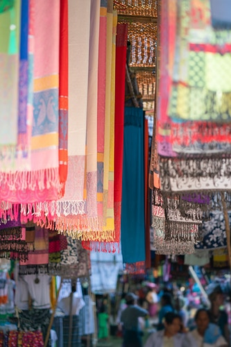 Colorful hand-made scarves in a market in Bagan Myanmar - Daniel John Photography