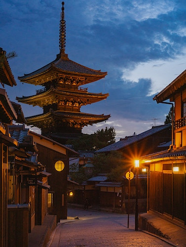 The popular Hōkan-ji Temple in Kyoto, Japan at dusk - Daniel John Photography