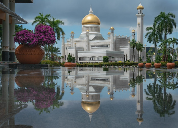 A reflection of Omar Ali Saifuddien Mosque in Brunei - Daniel John Photography