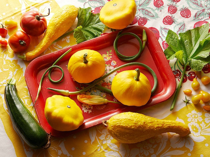 PATTY PAN SQUASH ON RED TRAY - Deborah Fletcher | Chicago Food • Product • Still-Life Photographer