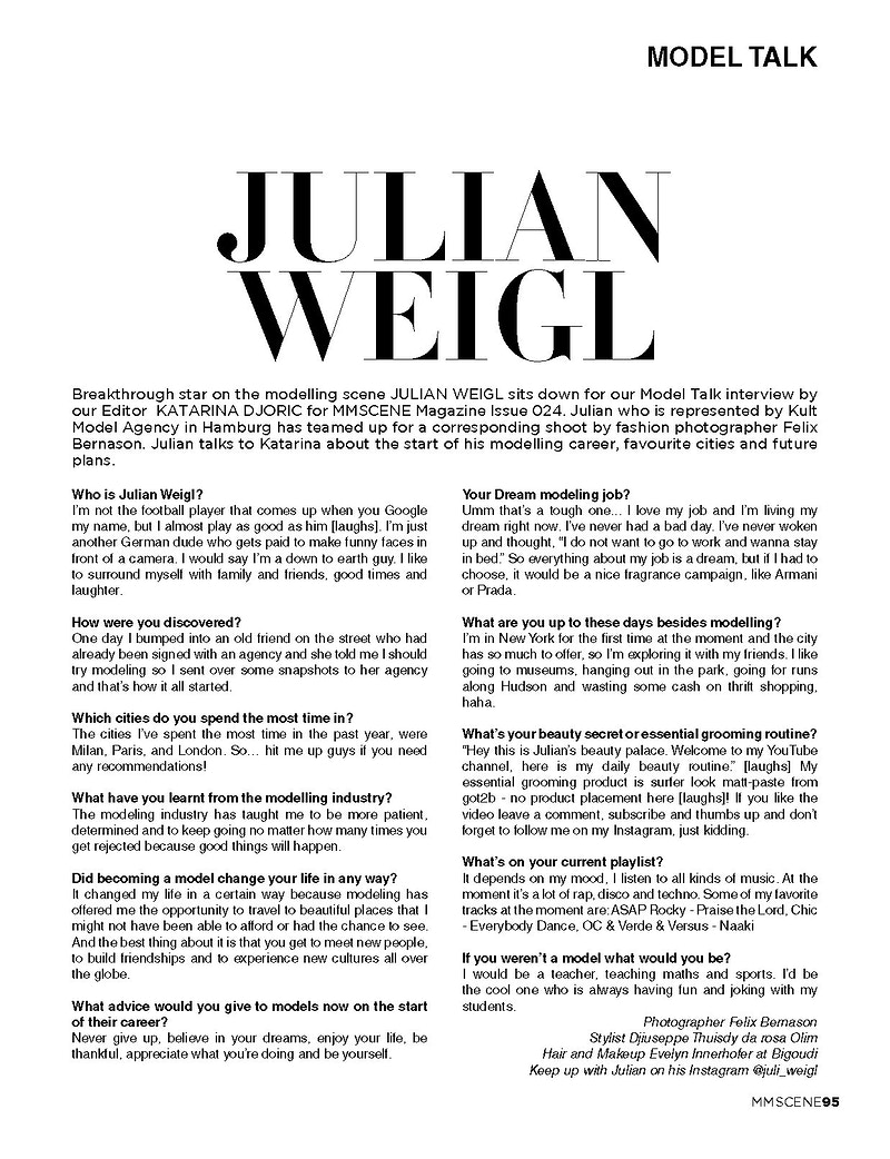 Julian Weigl Interviewed For Male Model Scene Issue Ss 18 19 - Felix Bernason Photographer
