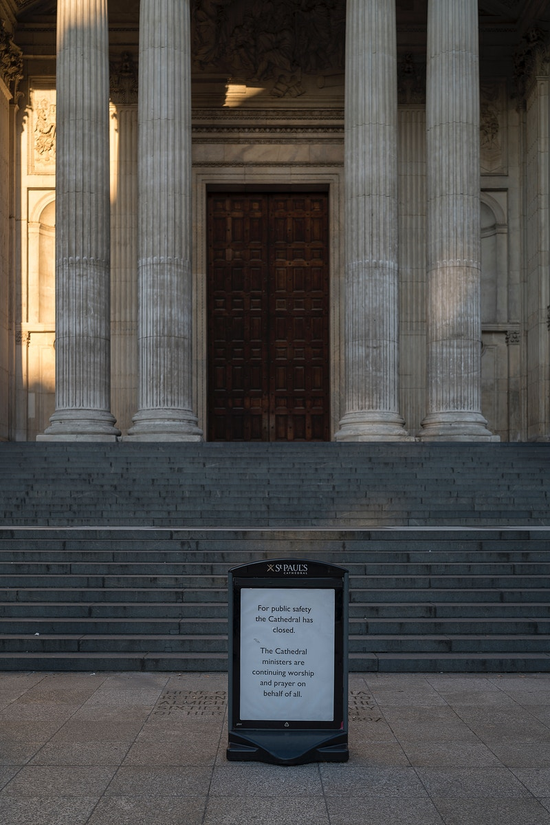 'PRAYER ON BEHALF OF ALL' AT THE STEPS OF ST. PAULS CATHEDRAL LONDON WEDNESDAY EVENING 25TH MARCH @ 18.35 DURING THE GREAT GLOBAL PANDEMIC OF 2020 - GRAHAM GUY BARRATT