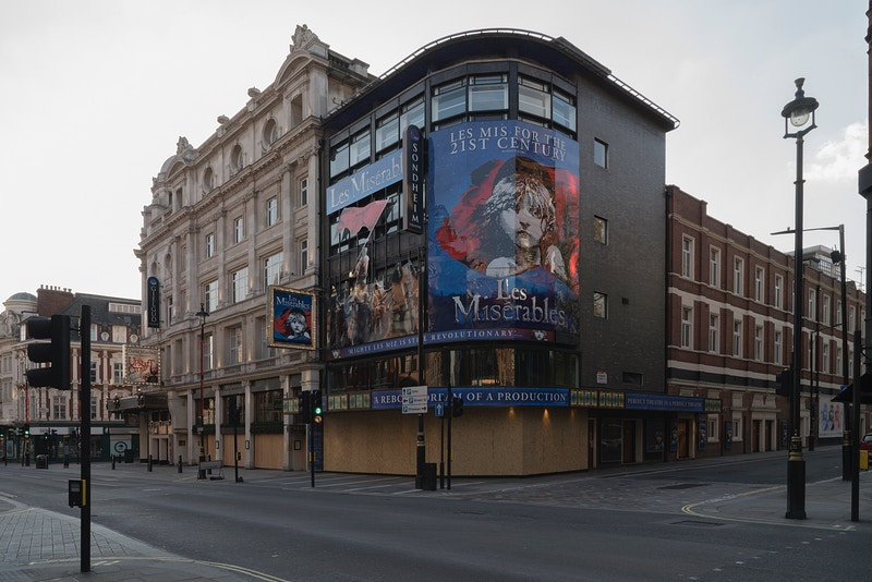 AND THE SHOW DOESN'T GO ON. LES MISERABLES CLOSED FOR NOW AT THE SONDHEIM THEATRE (FORMALLY THE 'QUEENS THEATRE') SHAFTSBURY AVENUE WESTMINSTER SATURDAY 11TH APRIL 18.09 DURING THE GREAT PANDEMIC - GRAHAM GUY BARRATT