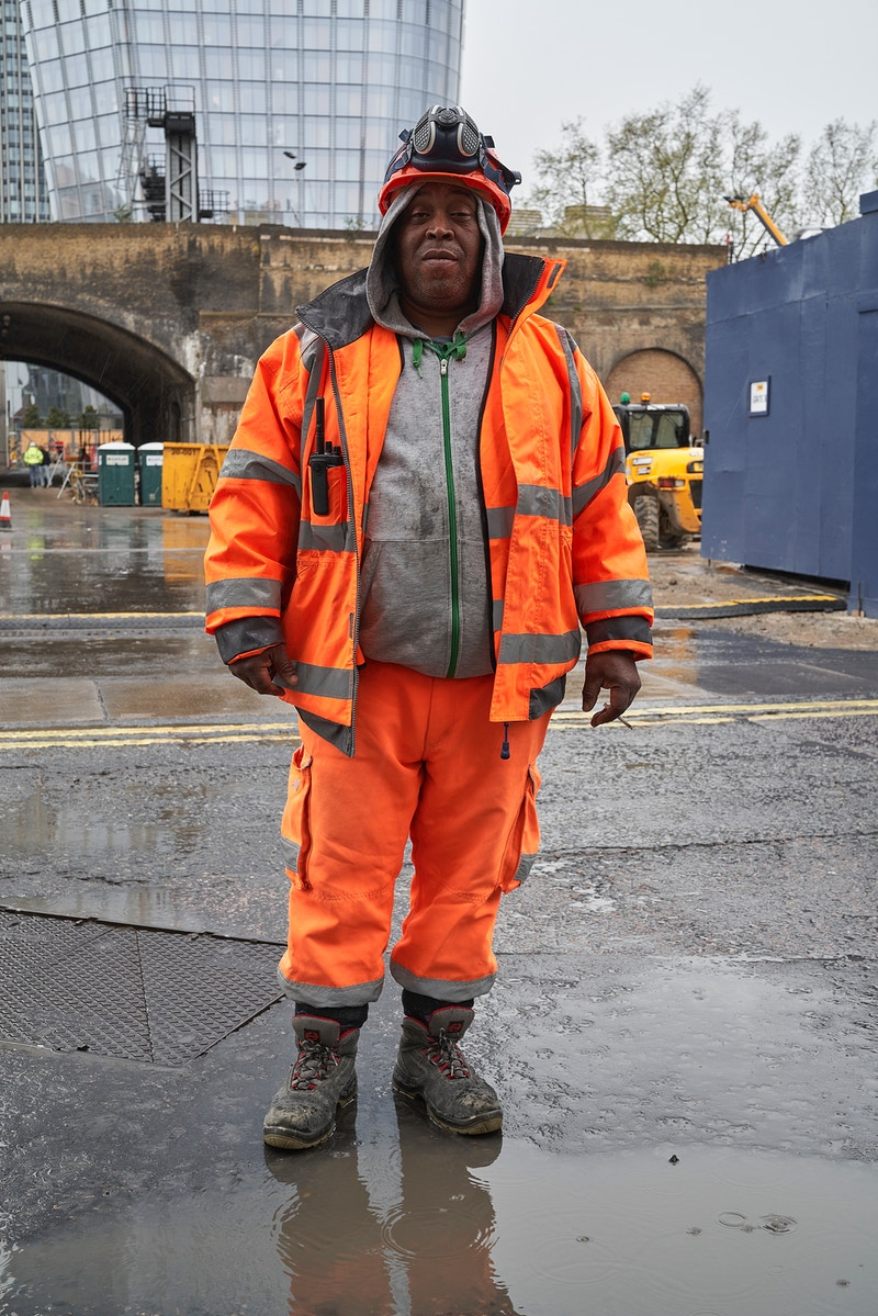 TONY. WORKING ON THE PREPARATIONS FOR BUILDING THE 50 STOREY 178.5M 'JENGA TOWER' 18 BLACKFRIERS ROAD SOUTHWARK LONDON FRIDAY 17TH APRIL 16.29 DURING THE GREAT GLOBAL PANDEMIC OF 2020 - GRAHAM GUY BARRATT
