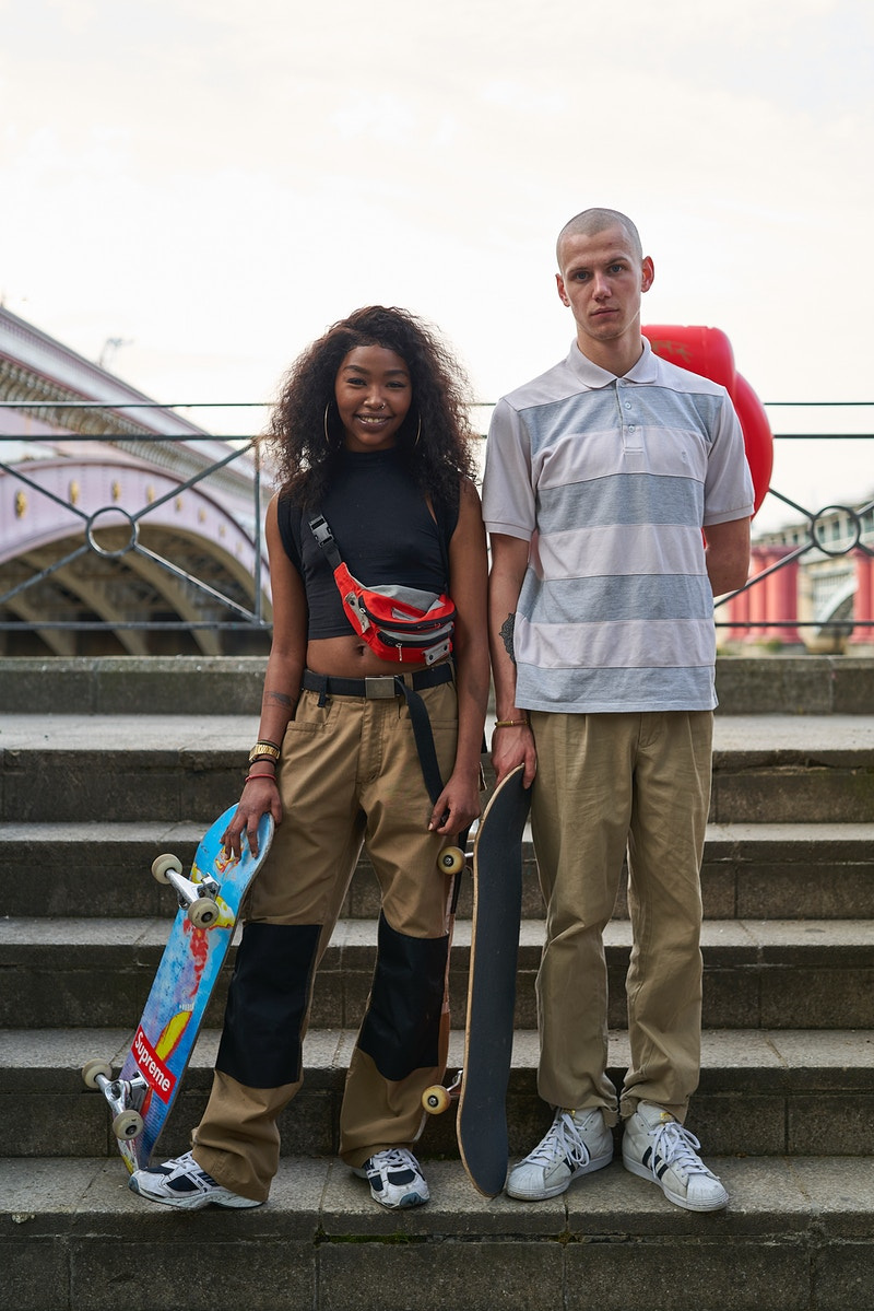 SOPA AND SAM. SOUTH BANK SKATERS NEAR BLACKFRIERS  ON THE 75TH ANNIVERSARY OF VE DAY.  FRIDAY 08TH MAY 17.15 DURING THE GREAT GLOBAL PANDEMIC OF 2020 - GRAHAM GUY BARRATT