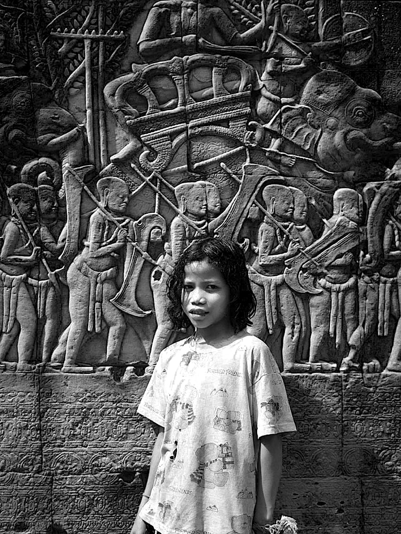 FOREVER FRIENDS CHANTREA ON THE FIRST TIER SOUTH OF THE EAST GATE IN THE BAYON, ANGKOR THOM CAMBODIA 06TH JANUARY 1998 - GRAHAM GUY BARRATT