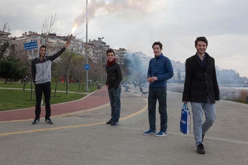 LADS WITH FLARE KADIKOY ON THE SEAFRONT, ASIAN ISTANBUL - GRAHAM GUY BARRATT