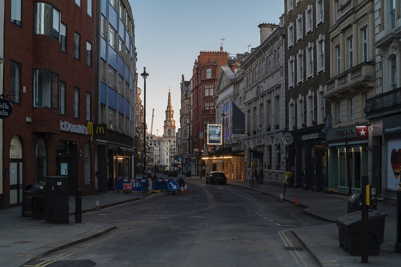 ST. MARTINS LANE LOOKING DOWN TOWARDS THE ENO AND ST.MARTIN IN THE FIELDS SATURDAY NIGHT 04TH APRIL @ 19.38 DURING THE GREAT GLOBAL PANDEMIC OF 2020 - GRAHAM GUY BARRATT