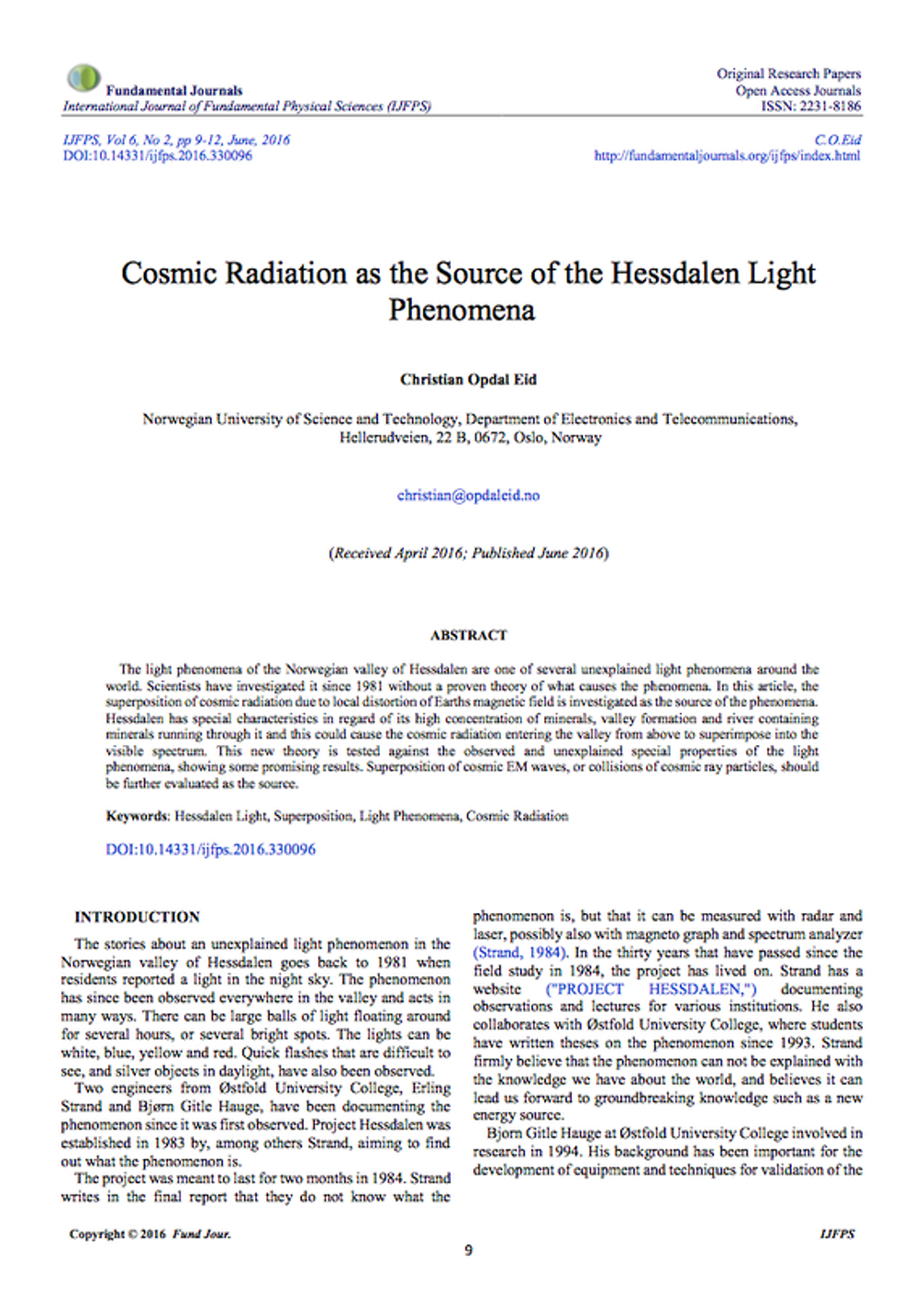 Theory - The Hessdalen Lights