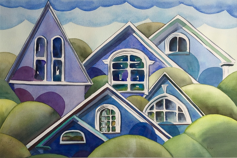 Attic Windows from Midcoast Maine Rockland - Hunter Gallery of Fine Art, Grafton, VT
