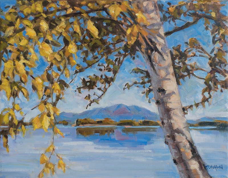 Mt Katahdin with Birch - Hunter Gallery of Fine Art, Grafton, VT