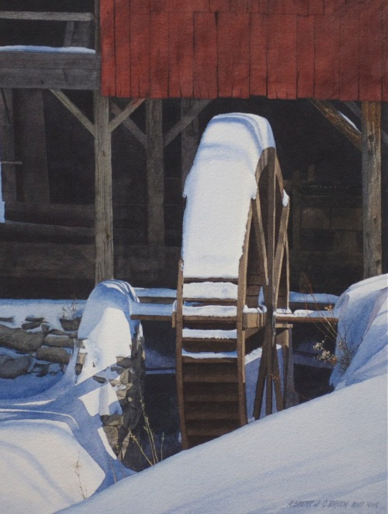 Weston Mill in Winter - Hunter Gallery of Fine Art, Grafton, VT