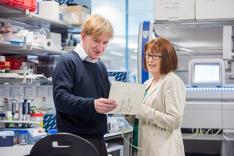 Professors Sarah Gilbert & Adrian Hill in the Oxford Vaccine Centre. They are curently working on a potential vaccine for Corona Virus Covid 19 - John Cairns Photography