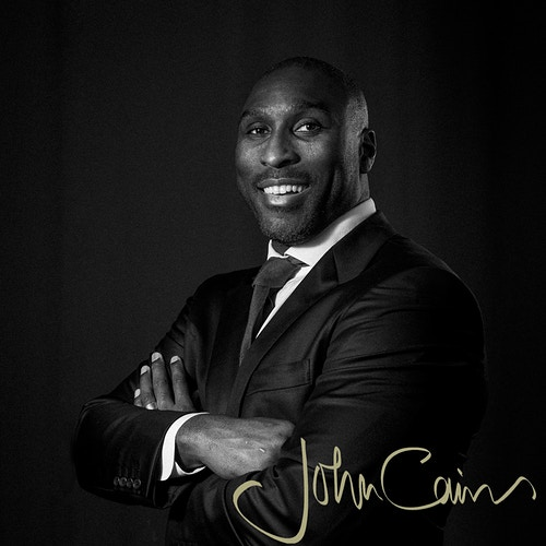 Sol Campbell - black and white portrait taken in central London - John Cairns Photography