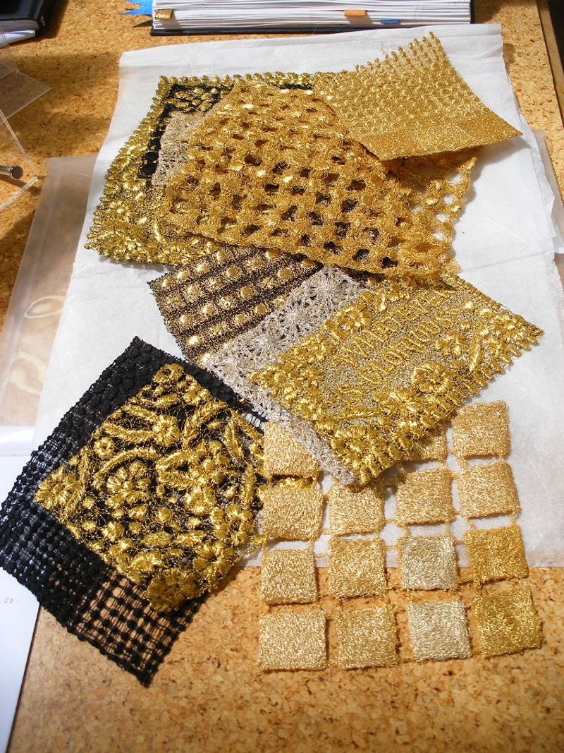 Gold lace samples - KATE WELLS artist