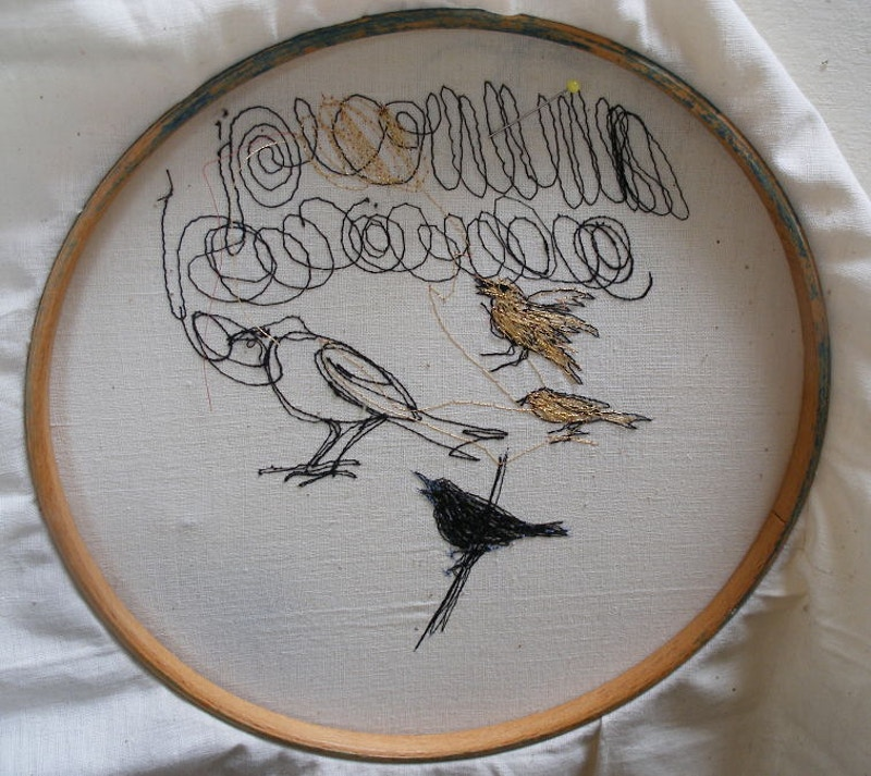 stitched sketch, gold finches - KATE WELLS artist