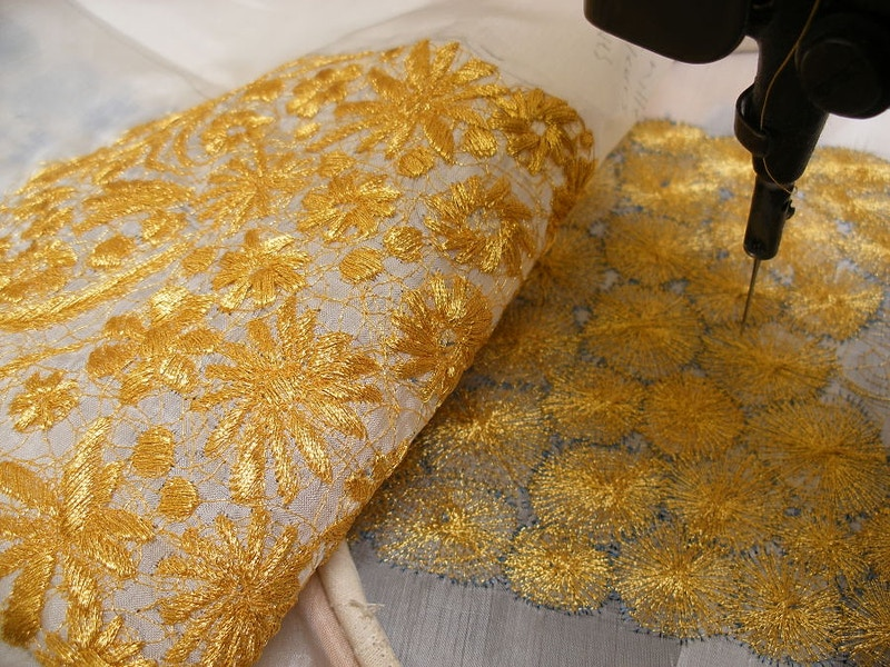 Gold embroidered lace - KATE WELLS artist