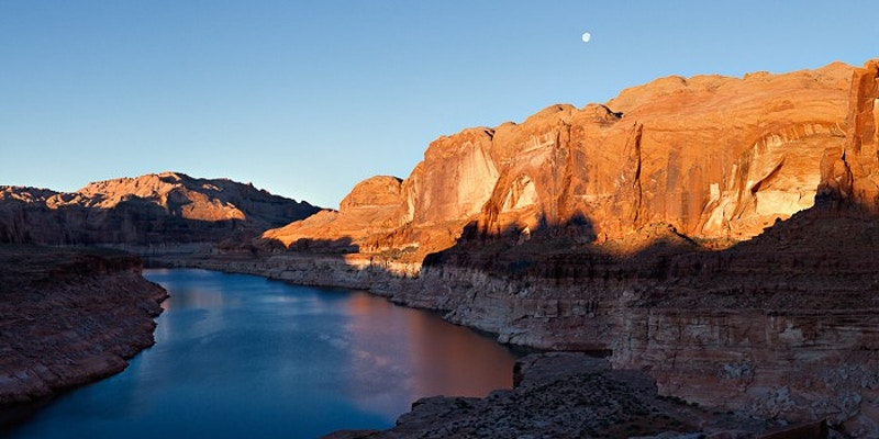 Moonset over Lake Powell, Glen Canyon NRA, UT - Kirk Marshall Photography