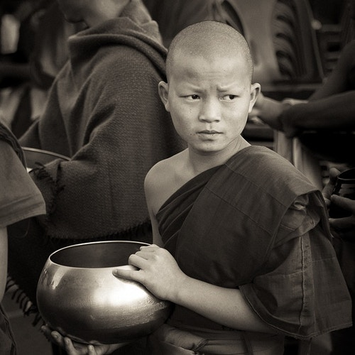 Waiting for Alms, Chiang Mai - Kirk Marshall Photography