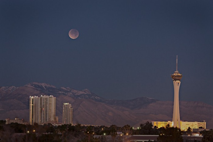 Lunar Eclipse over Las Vegas, Las Vegas, NV - Kirk Marshall Photography