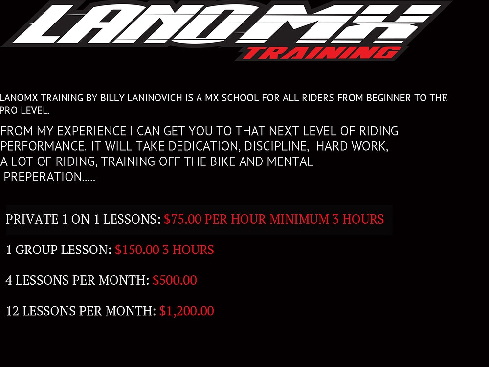 Motocross/Supercross Training - LanoMX.com - Official web site of Billy Laninovich
