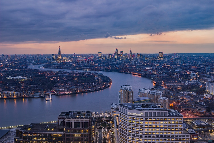 Purple dusk from Canary Wharf - London Viewpoints