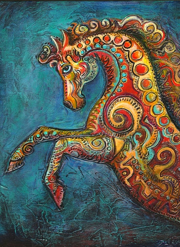 Carrousel Horse-Blue Background - Mary DeLave Art