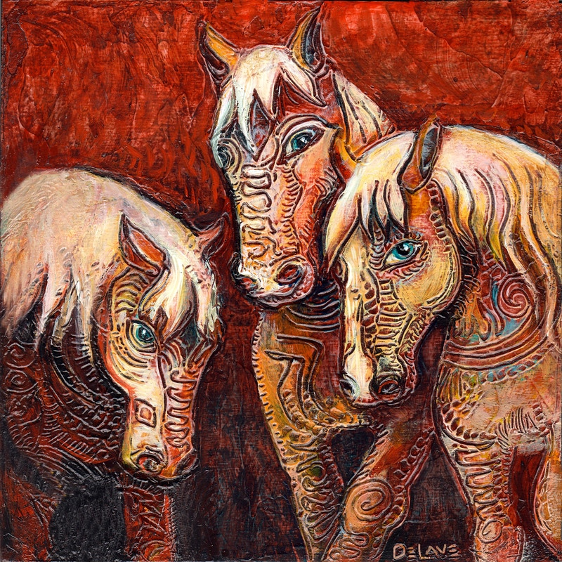3 Horses - Mary DeLave Art