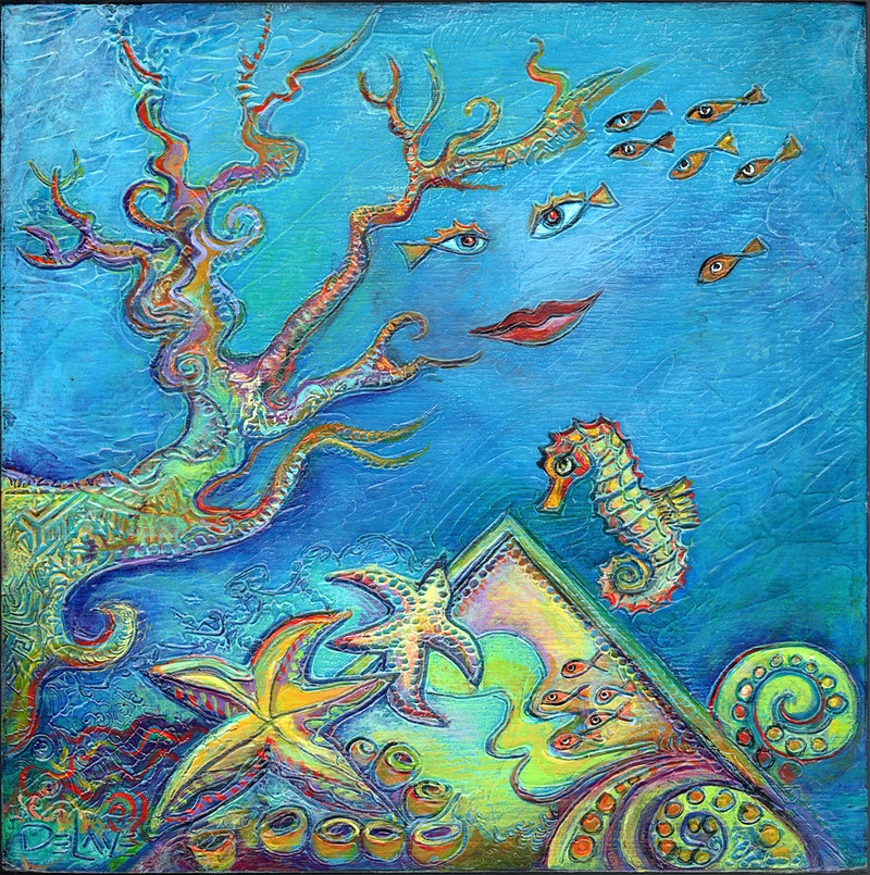 Sea Turtle's Garden 3 - Mary DeLave Art