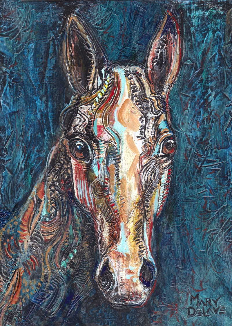 Horse Head Facing Us - Mary DeLave Art