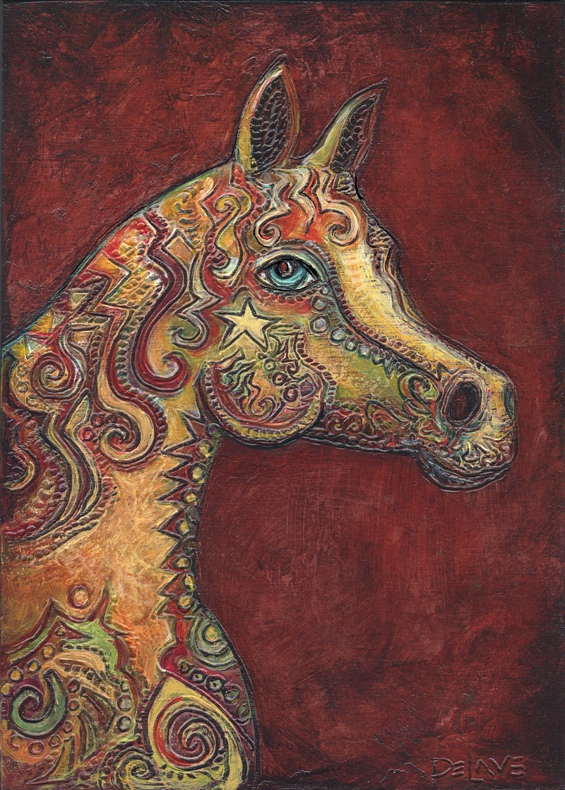 Horse Head Profile- Quine Background - Mary DeLave Art