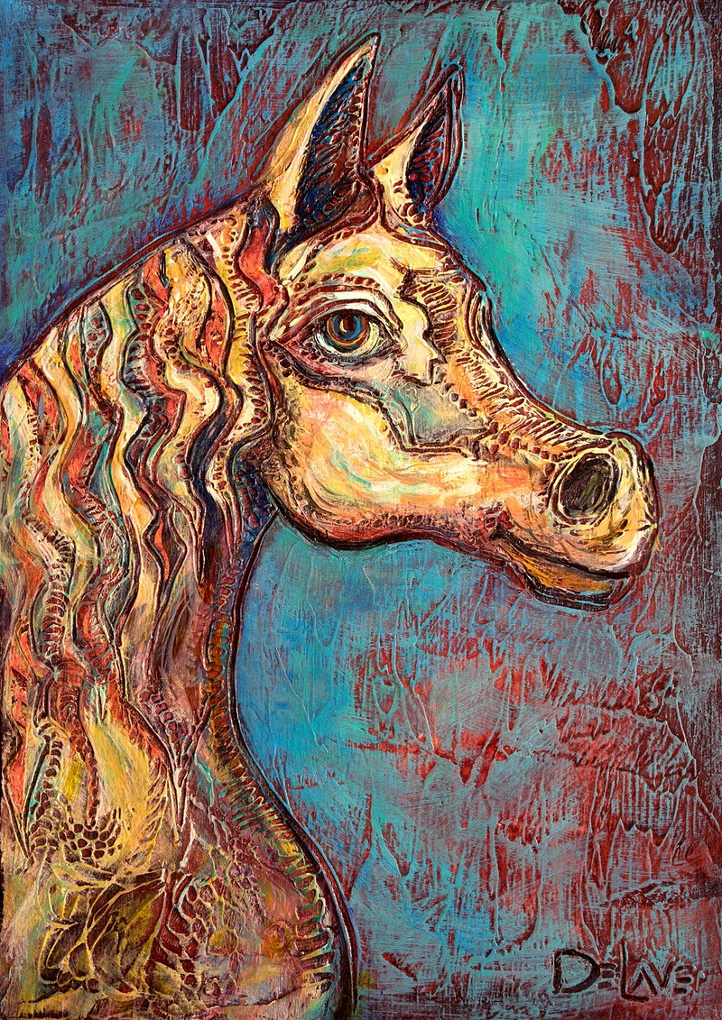Horse head profile-Teal background - Mary DeLave Art