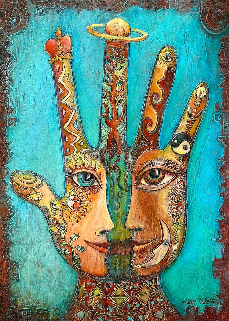 Shared Vision Hand-Teal Background - Mary DeLave Art